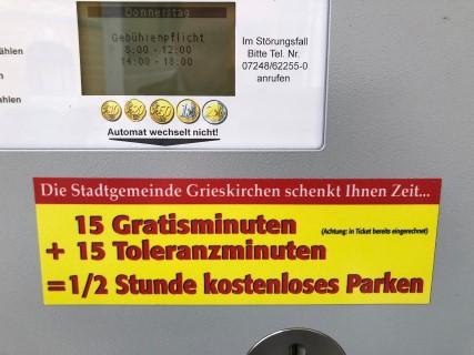 Bis zu 30 Minuten Gratis Parken in Grieskirchen